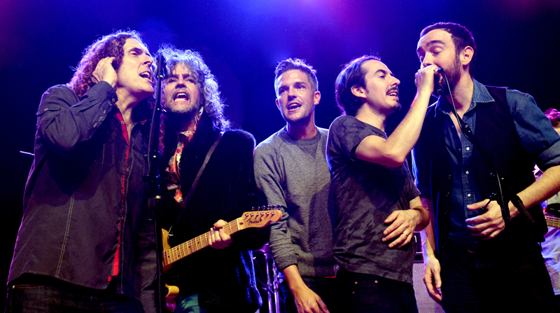 LOS ANGELES, CA - SEPTEMBER 28: Weird Al Yankovic, Wayne Coyne, Brandon Flowers, Dhani Harrison and Jonathan Bates perform at The Fonda Theatre on September 28, 2014 in Los Angeles, California. (Photo by Jeff Kravitz/FilmMagic)